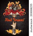 rock forever music grunge... | Shutterstock .eps vector #203008255