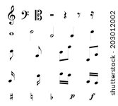 set of music notes vector | Shutterstock .eps vector #203012002