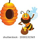 save our bee concept cartoon...   Shutterstock .eps vector #2030131565