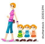mom with triplets   vector | Shutterstock .eps vector #20301394