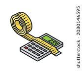 tape measure and calculator... | Shutterstock .eps vector #2030146595