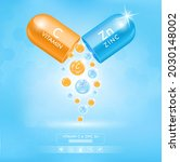 zinc zn blue and orange vitamin ...   Shutterstock .eps vector #2030148002