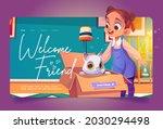 welcome friend cartoon landing...   Shutterstock .eps vector #2030294498