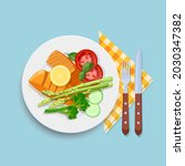 two piece of grilled salmon... | Shutterstock .eps vector #2030347382