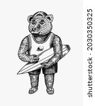 surfing bear. surfoboarder with ... | Shutterstock .eps vector #2030350325