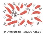 sketch wine set. wine corkscrew ... | Shutterstock .eps vector #2030373698