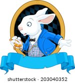 Stock vector white rabbit with pocket watch design 203040352