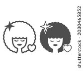 woman with lush hairstyle line... | Shutterstock .eps vector #2030465852