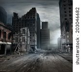 post apocalyptic scene with a... | Shutterstock . vector #203046682
