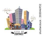 contrast city between downtown... | Shutterstock .eps vector #203046952