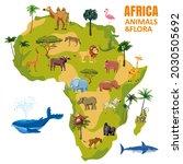 africa animal world map... | Shutterstock .eps vector #2030505692
