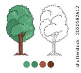 tree coloring page for...   Shutterstock .eps vector #2030582612