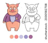 pig coloring page for preschool ...   Shutterstock .eps vector #2030582708