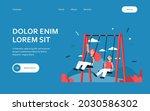 happy kids swinging on swings.... | Shutterstock .eps vector #2030586302