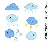 cute set of blue happy clouds... | Shutterstock .eps vector #2030593568