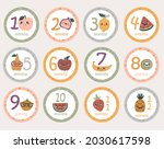 monthly baby round stickers... | Shutterstock .eps vector #2030617598