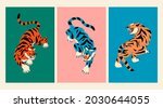 abstract tigers. tiger walk.... | Shutterstock .eps vector #2030644055