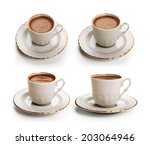 turkish coffee cup set with... | Shutterstock . vector #203064946