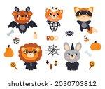 a set of animals in halloween... | Shutterstock .eps vector #2030703812