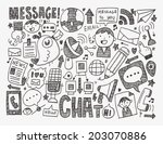 doodle communication background | Shutterstock .eps vector #203070886
