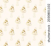 gold witchy mushroom seamless... | Shutterstock .eps vector #2030801102