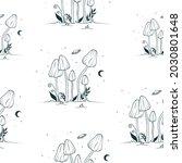 celestial mushroom seamless... | Shutterstock .eps vector #2030801648