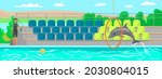 woman trains dolphin  trainer... | Shutterstock .eps vector #2030804015