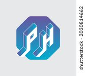 three dimension letters p and h ... | Shutterstock .eps vector #2030814662
