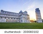 pisa tower morning sunrise.... | Shutterstock . vector #203083102