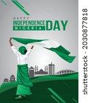 Nigerian Girl Waving Flag Her...