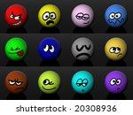 12 different smiles. 3d renders ... | Shutterstock . vector #20308936