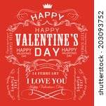 happy valentines day cards with ... | Shutterstock . vector #203093752