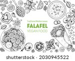 falafel cooking and ingredients ...   Shutterstock .eps vector #2030945522