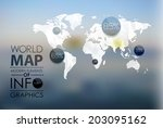 polygonal world map and... | Shutterstock . vector #203095162