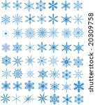 set of 56 blue snowflakes ... | Shutterstock . vector #20309758