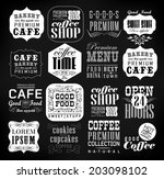 retro coffee  labels and... | Shutterstock . vector #203098102