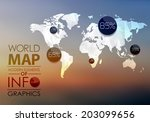 polygonal world map and... | Shutterstock . vector #203099656