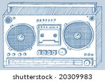 etching of a stereo player.   ...
