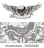 vector skull with wings at gray ...