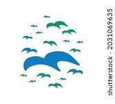 whimsical cute doodle bird... | Shutterstock .eps vector #2031069635