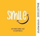 happy world smile day banner.... | Shutterstock .eps vector #2031137948