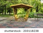 Wooden Pergola Painted Yellow...