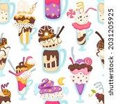 gelato frozen dessert served in ... | Shutterstock .eps vector #2031205925