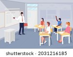 after covid school lesson flat...   Shutterstock .eps vector #2031216185