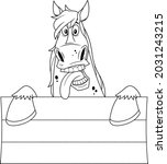 Outlined Funny Horse Cartoon...