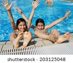 happy little boys enjoying... | Shutterstock . vector #203125048
