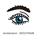 long eyelashes and eyebrows....   Shutterstock .eps vector #2031270638