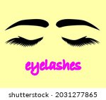 long eyelashes and eyebrows....   Shutterstock .eps vector #2031277865