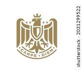 heraldry flying eagle logo... | Shutterstock .eps vector #2031299522
