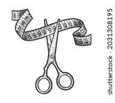 scissors cut measure tape...   Shutterstock .eps vector #2031308195